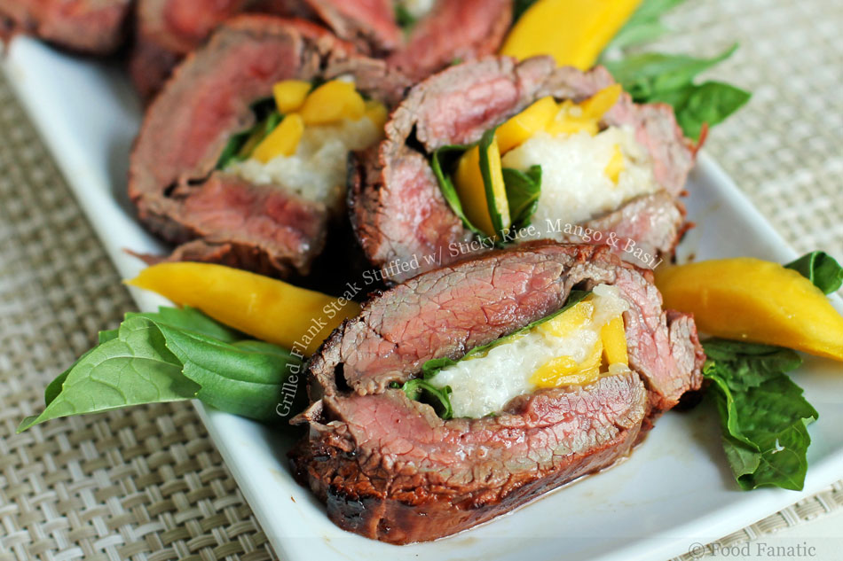 Grilled Flank Steak Stuffed with Sticky Rice, Mango and Basil