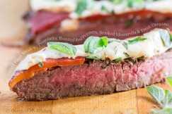 Grilled Flank Steak with Prosciutto, Roasted Red Peppers, Smoked Mozzarella and Fresh Oregano