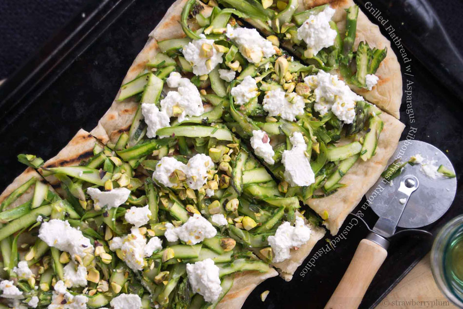 Grilled Flatbread with Asparagus Ribbons, Fresh Ricotta & Crushed Pistachios