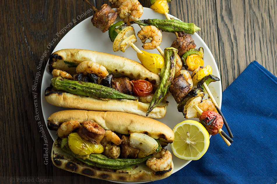 Grilled Jambalaya Skewers with Shrimp, Sausage, Okra, Peppers and Onions
