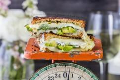 Grilled Mozzarella, Boursin, Avocado and Basil Sandwich