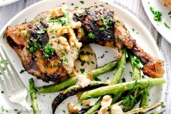 Grilled Mustard Chicken with Creamy Walnut Sauce and Charred Green Beans