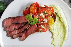 Grilled NY Strip with Cherry Tomato Salad and Avocado Crema