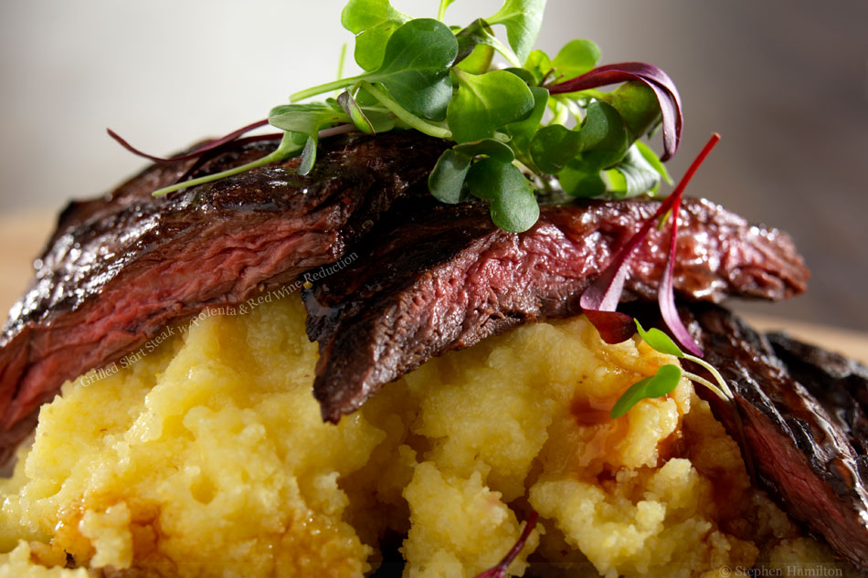 Grilled Skirt Steak with Polenta and Red Wine Reduction