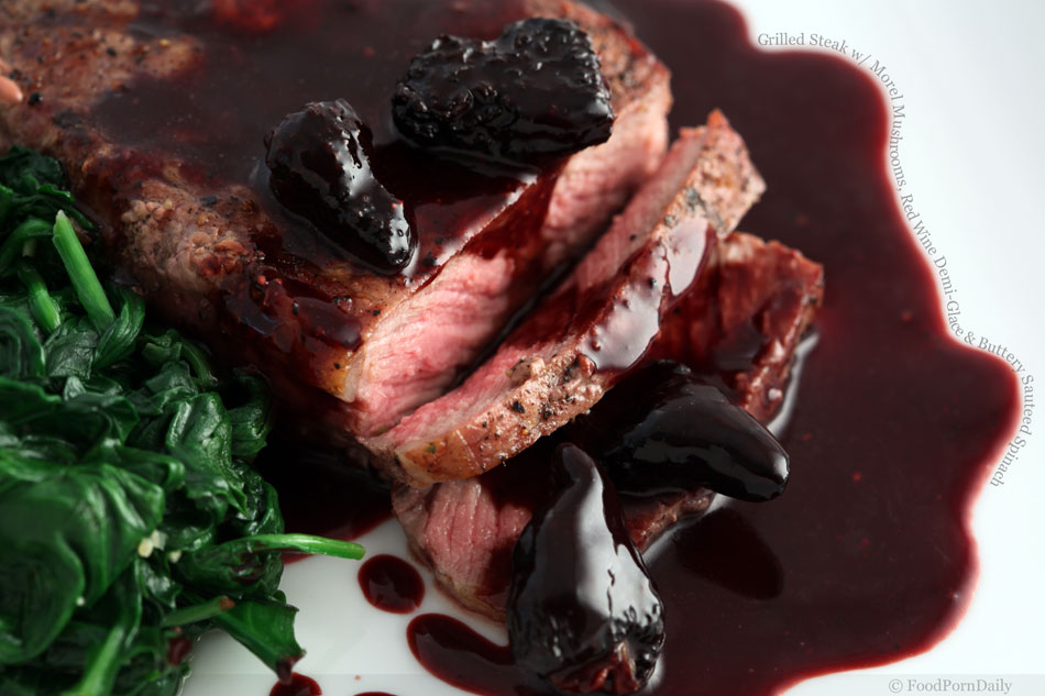 Grilled Steak with Morel Mushrooms, Red Wine Demi-Glace & Buttery ...