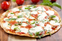 Grilled Tortilla Pizza Margherita with Fresh Mozzarella, Basil and Marinara