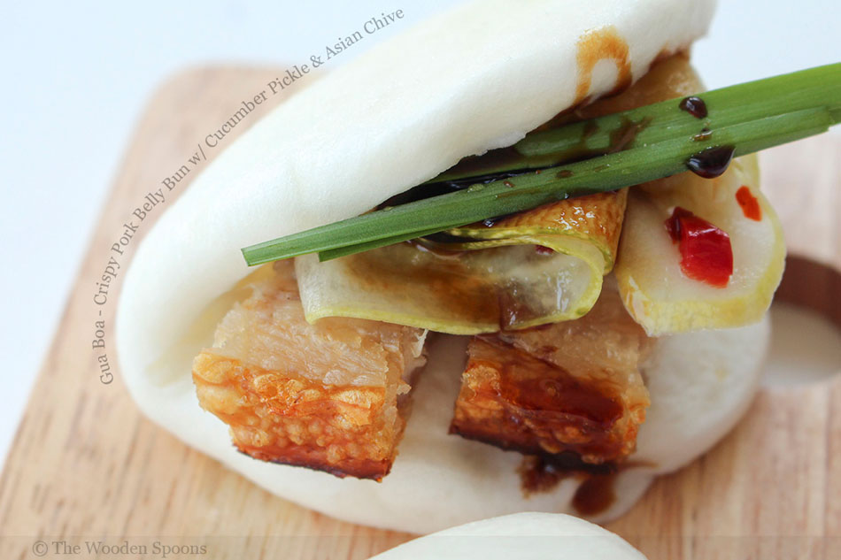 Gua Boa – Crispy Pork Belly Bun with Cucumber Pickle and Asian Chive