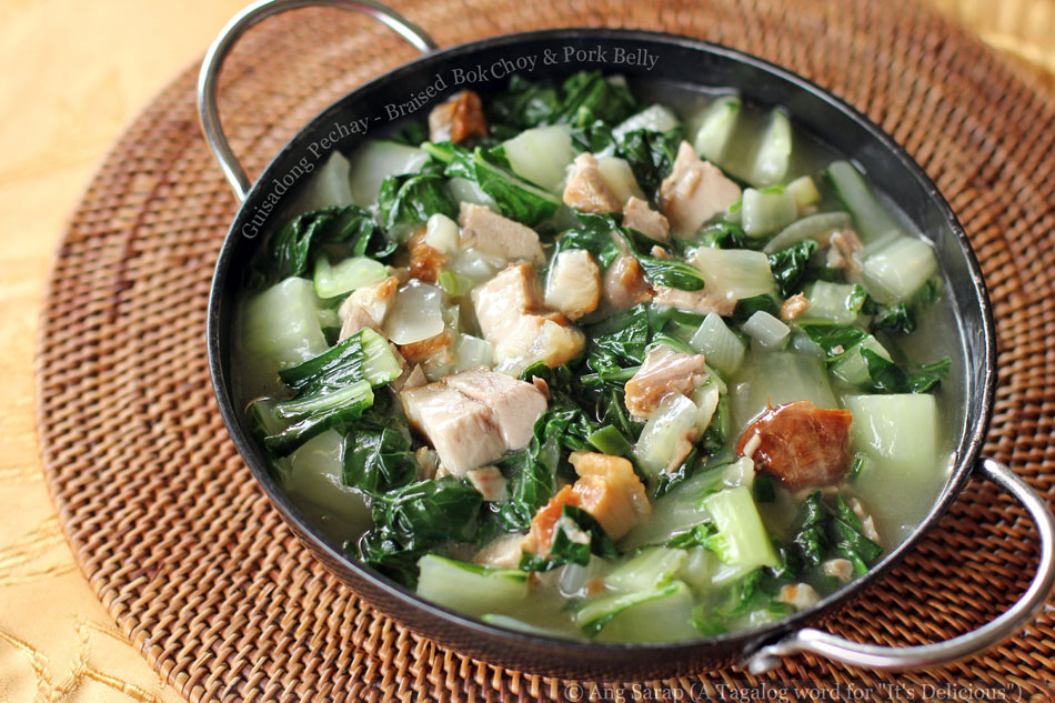Guisadong Pechay – Braised Bok Choy and Pork Belly