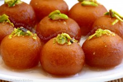 Gulab Jamun – Soft Sweet Milk Dumplings Soaked in Rose and Cardamom Syrup with Pistachios