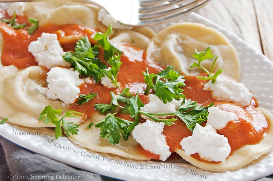 Handmade Beef Ravioli with Creamy Tomato Sauce and Crumbled Fresh Ricotta