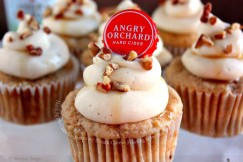 Hard Apple Cider Cupcakes with Cream Cheese Frosting and Pecans