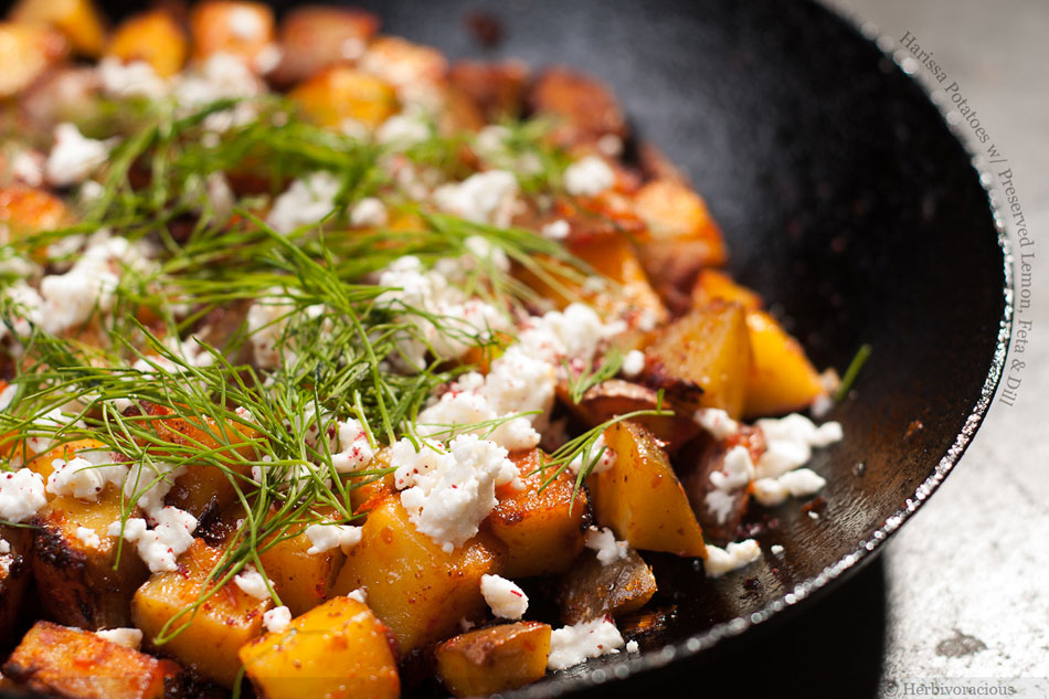 Harissa Potatoes with Preserved Lemon, Feta and Dill