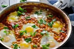 Harissa Shakshuka – Eggs Baked in a Harissa Spiced Tomato Sauce