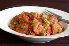 Hearty Andouille Sausage, Chicken and Shrimp Jambalaya