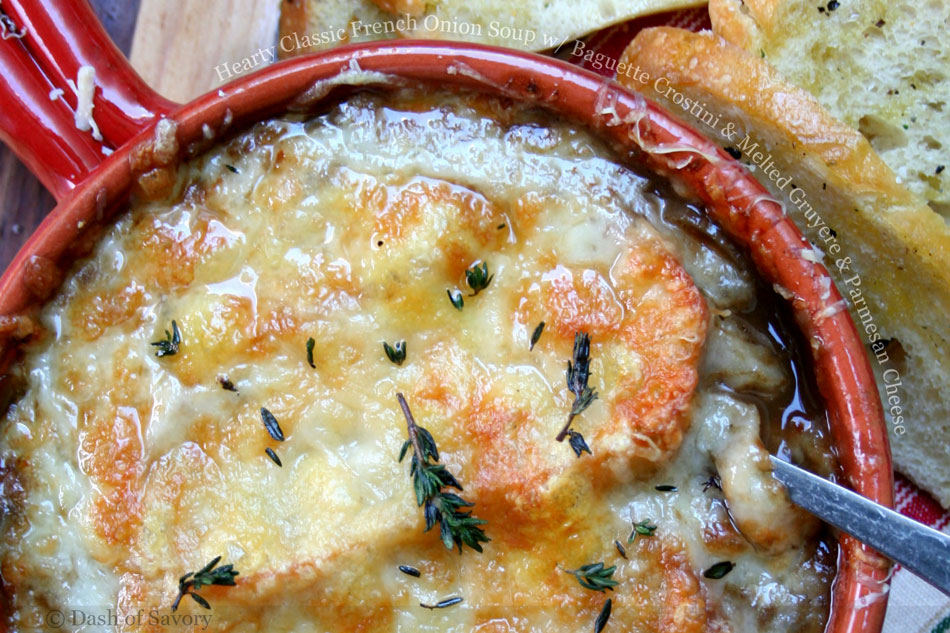 Hearty Classic French Onion Soup with Baguette Crostini and Melted Gruyere and Parmesan Cheese