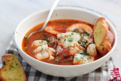 Hearty Italian Seafood Soup with Monkfish, Sea Bass, Prawns and Scallops