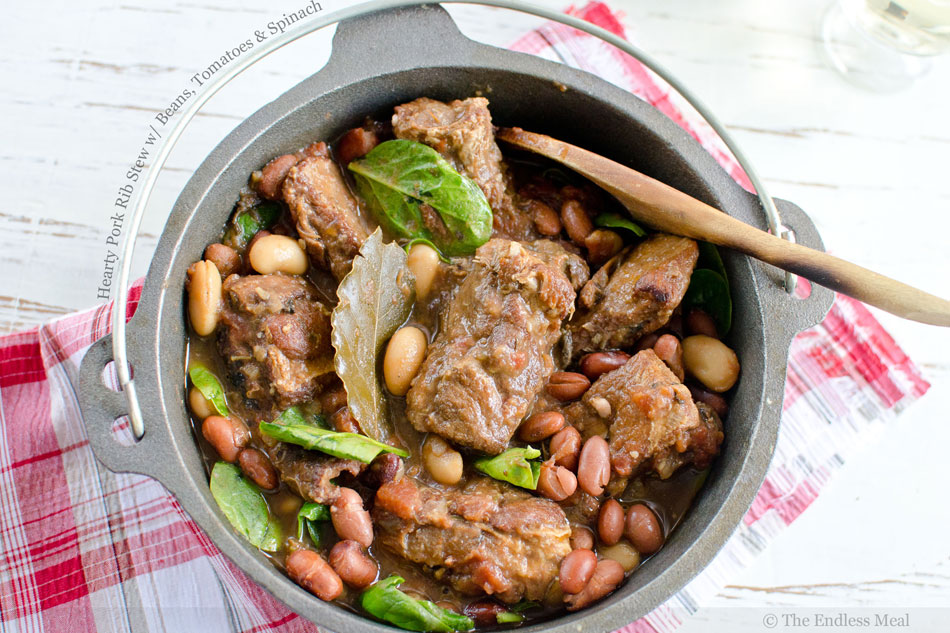 Hearty Pork Rib Stew with Beans, Tomatoes and Spinach