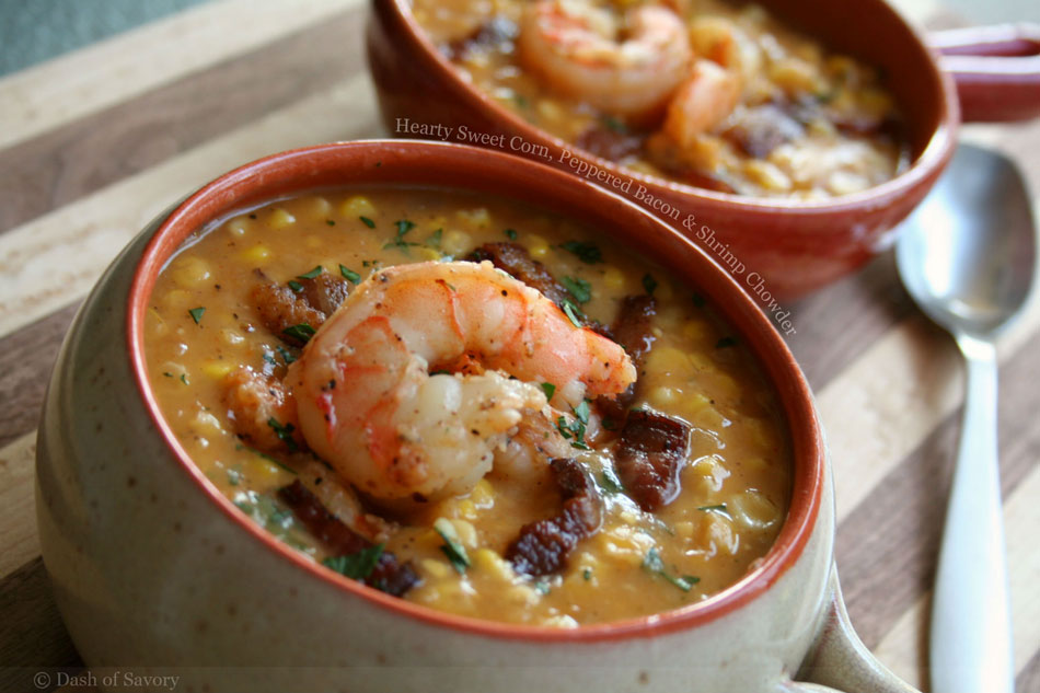 Hearty Sweet Corn, Peppered Bacon and Shrimp Chowder