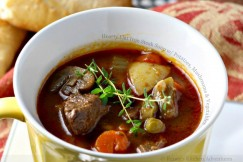 Hearty Flat Iron Steak Soup with Potatoes, Mushrooms and Vegetables