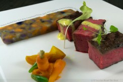 Hickory Smoked New York Strip, Compressed Potato, Early Fall Vegetables, Carrot-Coriander Puree