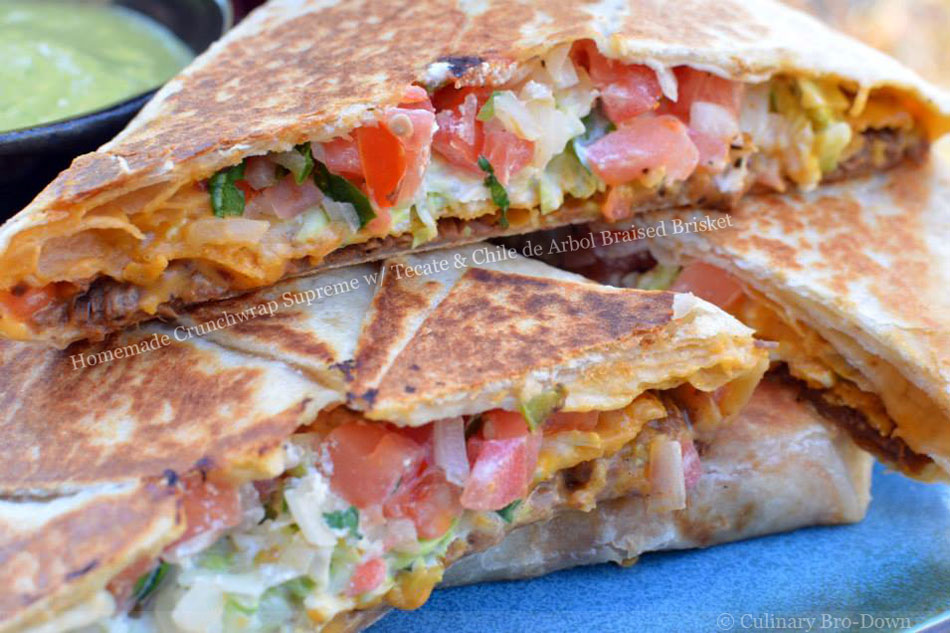 Homemade Crunchwrap Supreme with Tecate and Chile de Arbol Braised Brisket