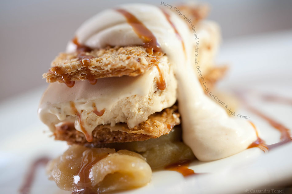 Honey Crisp Apple-Almond Wafer Stack, Dulce de Leche Ice Cream and Apple Crema