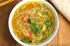 Hot and Sour Spicy Noodle Soup with Pak Choi, Lemongrass and Thai Basil