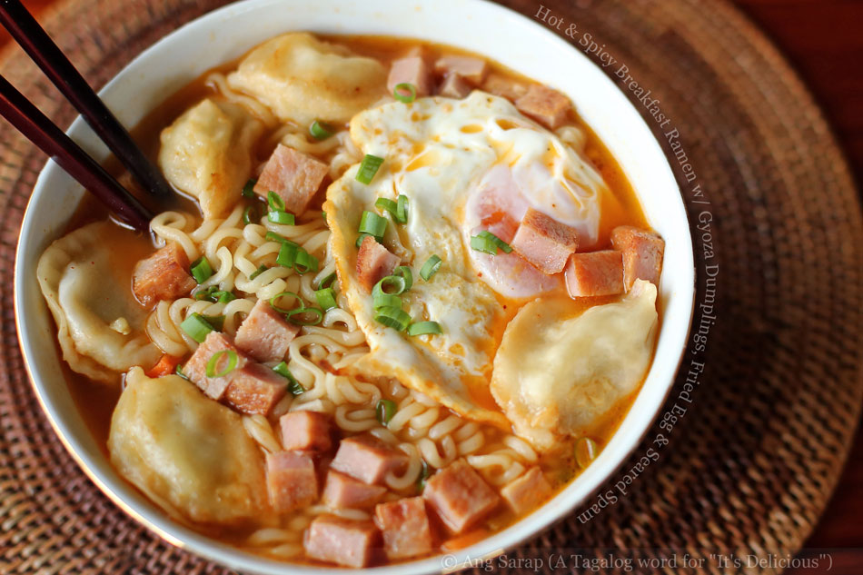 Hot and Spicy Breakfast Ramen with Gyoza Dumplings, Fried Egg and Seared Spam