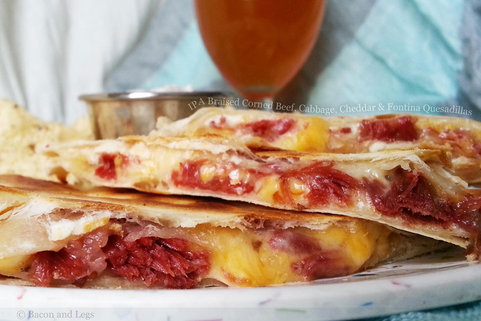 IPA Braised Corned Beef, Cabbage, Cheddar and Fontina Quesadillas
