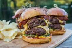 Juicy Bacon Double Cheeseburger Sliders on Brioche Buns