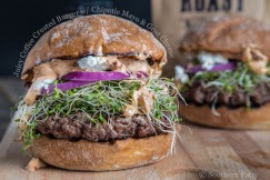 Juicy Coffee Crusted Burger with Chipotle Mayo and Goat Cheese