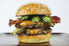 Juicy Double Cheeseburger Loaded with Crispy Bacon, Fresh Jalapenos and Pickles