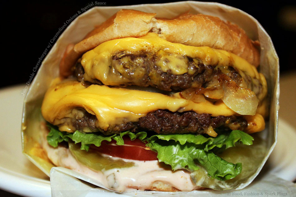 Juicy Double Cheeseburger with Caramelized Onions and Special Sauce