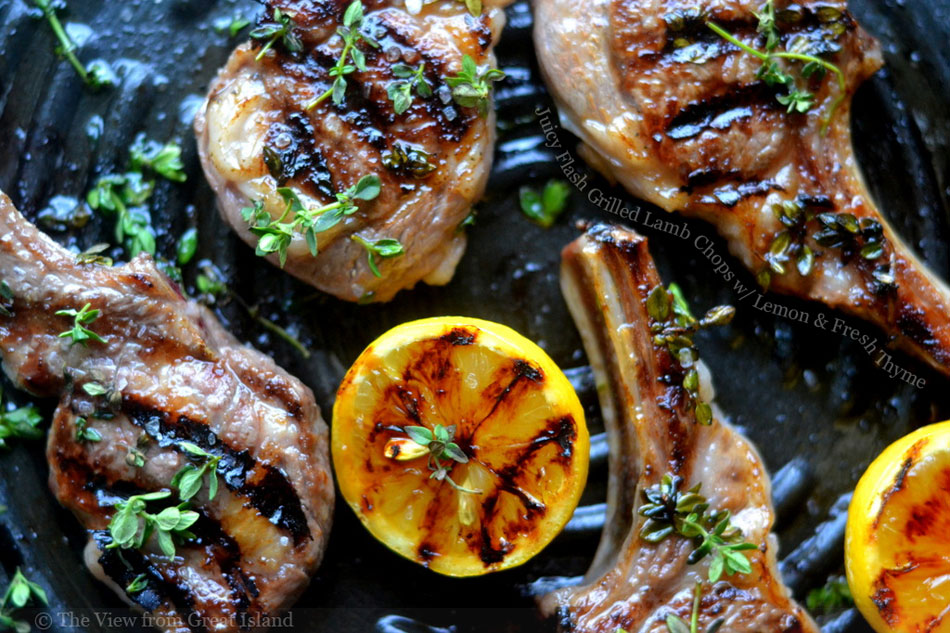 Juicy Flash Grilled Lamb Chops with Lemon and Fresh Thyme