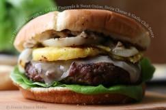 Juicy Hawaiian Burgers w/ Grilled Pineapple & Sweet Onion, Swiss Cheese & Garlic Chili Sauce