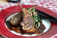 Juicy Herb Crusted Lamb Chops with Balsamic Reduction and Bacon Sauteed Chard