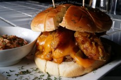 Juicy Pork Burger with Sharp Cheddar, Fried Sweet Plantains, Jalapeno and Guava Butter
