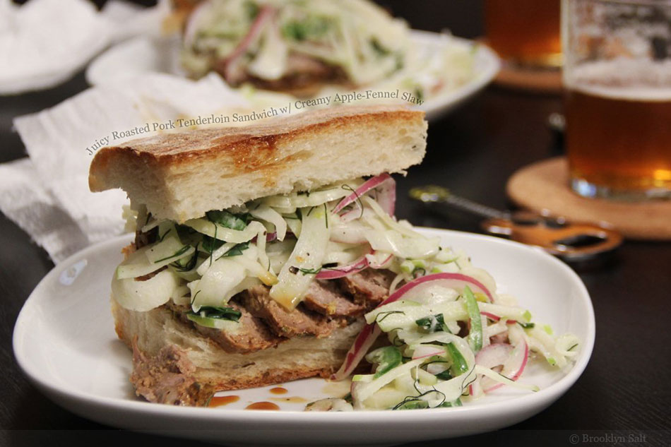 Juicy Roasted Pork Tenderloin Sandwich wth Creamy Apple-Fennel Slaw