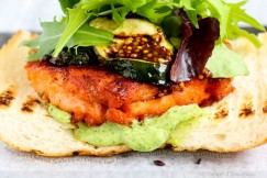 Juisy Seared Salmon Sandwich w/ Creamy Basil Pesto & Glazed Grilled Zucchini on Turkish Bread