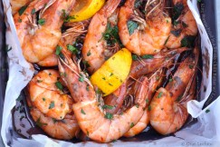 King Prawns Fried in a Smoky Chilli Butter with Lemon