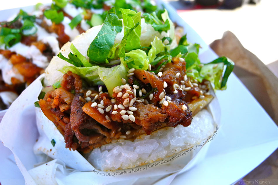 Korean BBQ Chicken KoJa with Caramelized Pineapple on Toasted Rice Buns