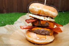 Krispy Kreme Bacon Double Cheeseburger with a Fried Egg and Hot Sauce