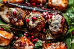 Lamb and Beetroot Meatballs with Roasted Eggplant, Sweet Potatoes and Pomegranate w/ Tahini Dressing Over Spinach