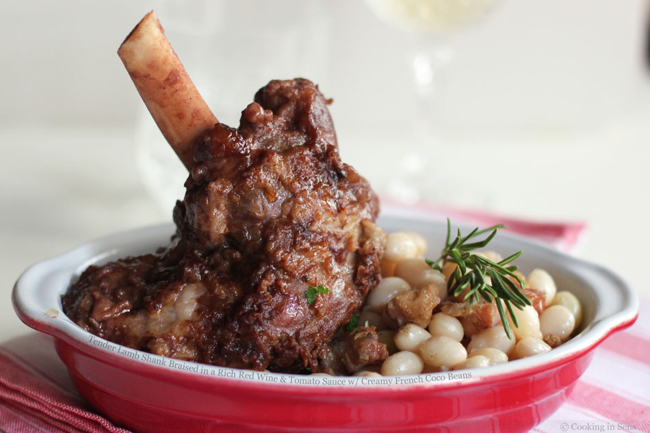 Tender Lamb Shank Braised in a Rich Red Wine and Tomato Sauce with Creamy French Coco Beans