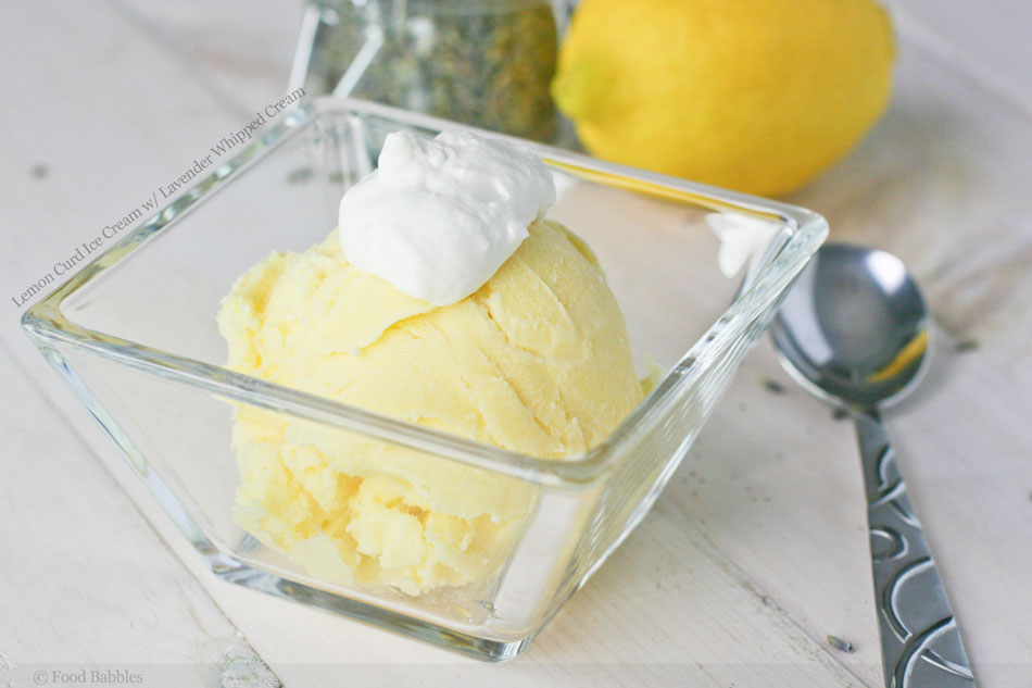 Lemon Curd Ice Cream with Lavender Whipped Cream