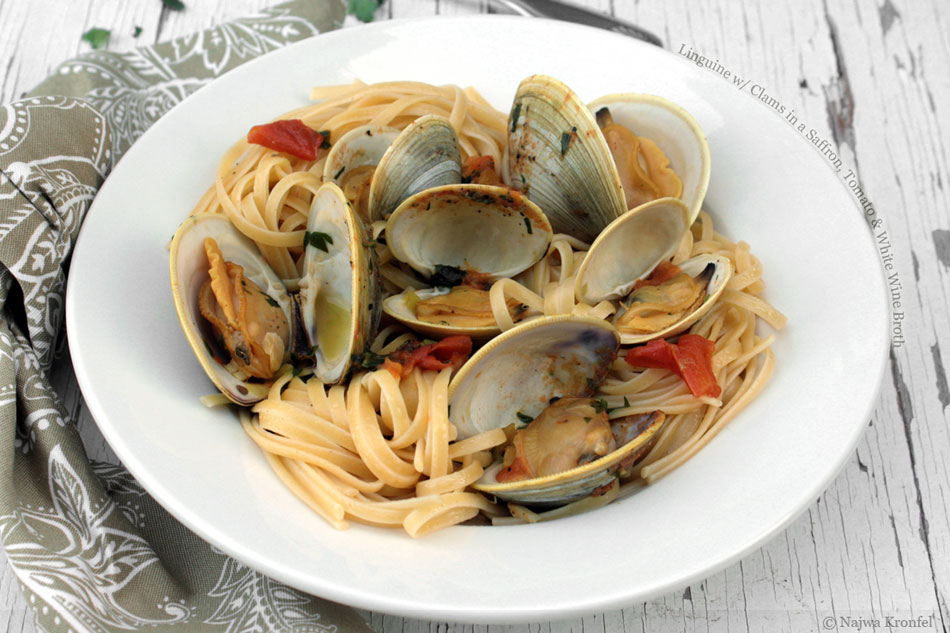Linguine with Clams in a Saffron, Tomato and White Wine Broth