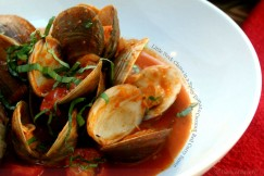 Little Neck Clams in a Spicy Tomato Coconut Red Curry Sauce