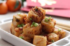 Loh Bak Goh &amp;#8211; Savory Turnip Cakes with Sausage Tossed in Chili Sauce