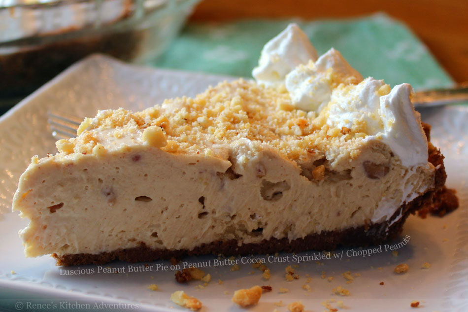 Luscious Peanut Butter Pie on Peanut Butter Cocoa Crust Sprinkled with Chopped Peanuts