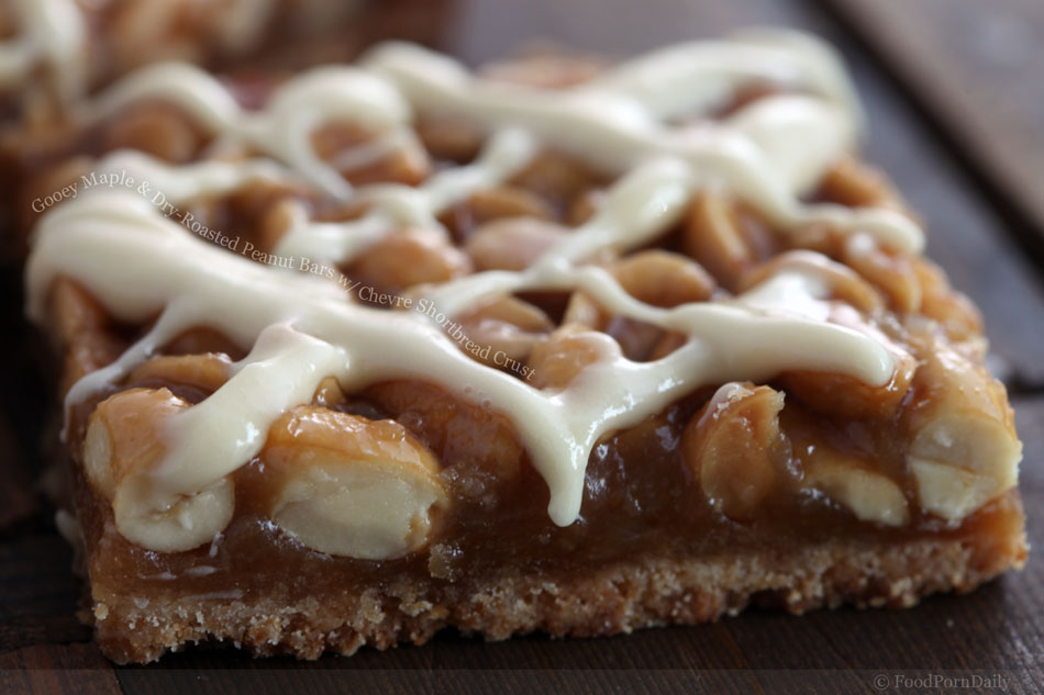 Gooey Maple and Dry-Roasted Peanut Bars with Chevre Shortbread Crust